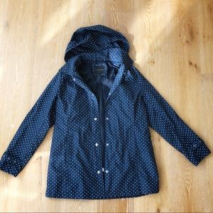 EUC Navy and white polka dot rain jacket